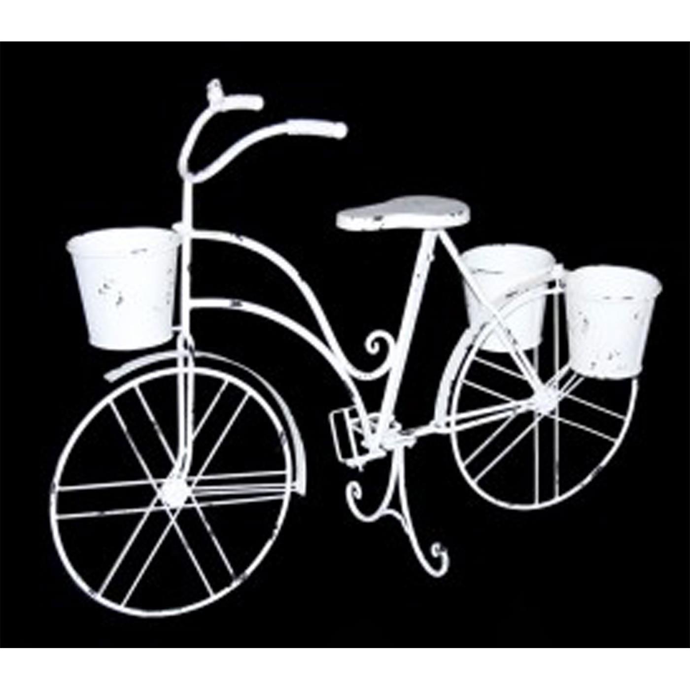 86x30x66cm Deko-Fahrrad Größe S weiß aus Metall mit 3 Pflanzkörben