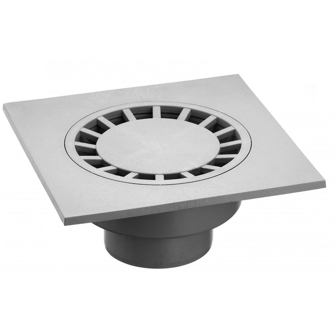Hofablauf 30x30 cm lichtgrau ˜ RAL 7035 D 100 mm senkrecht PVC